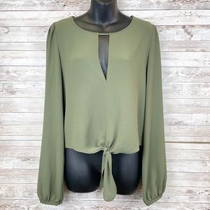 LEITH Hunter Green Keyhole Neck Tie Front Blouse
